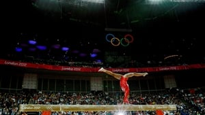 Gabrielle Douglas of the USof America on the balance beam in the Artistic Gymnastics Women's Team final