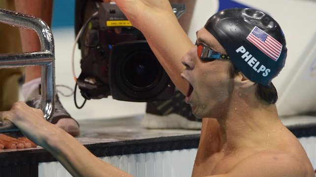 Michael Phelps moments after winning his 19th Olympic medal