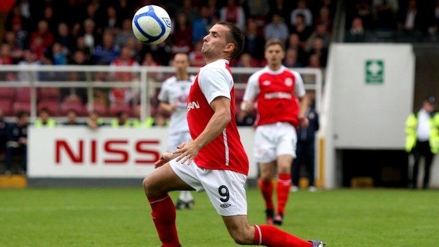 St Pat's striker Christy Fagan couldn't break the deadlock at the Brandywell