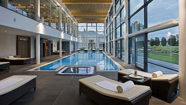 Wrap-around glass frontage surrounding the 20-metre swimming pool and Water Room offers great views
