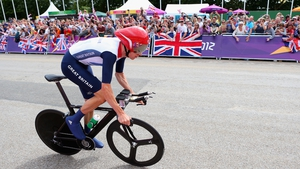 Bradley Wiggins on his way to victory this afternoon