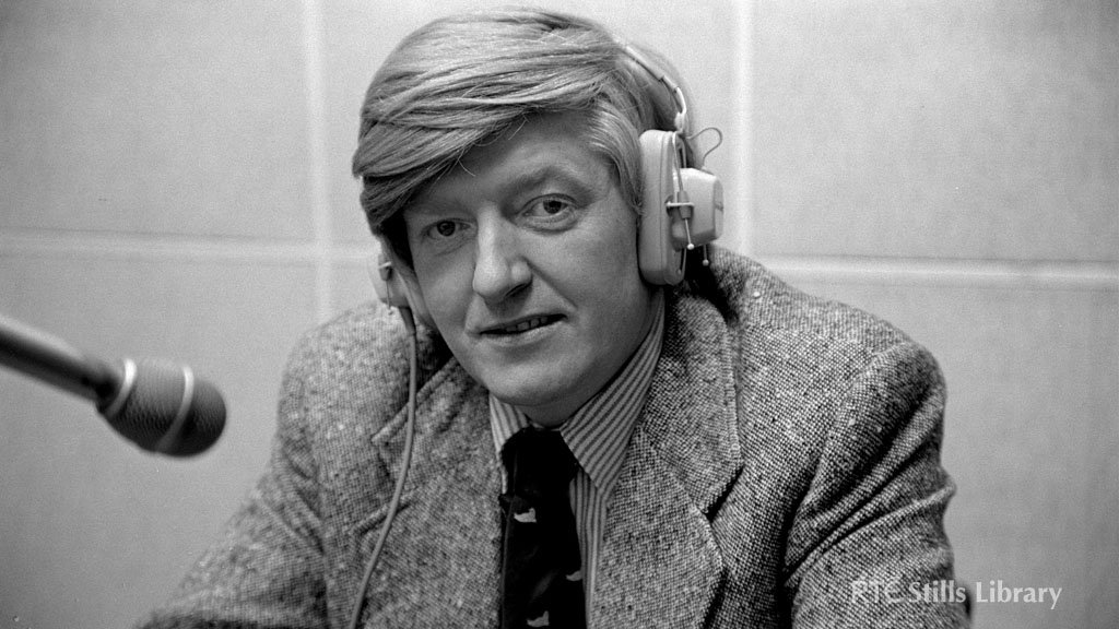 RTÉ News reporter Mike Burns in a publicity shot taken in an RTÉ radio studio in January 1976.