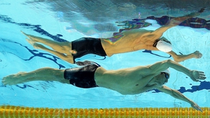 Michael Phelps of the United States seen from below in the Men's 200m Individual Medley