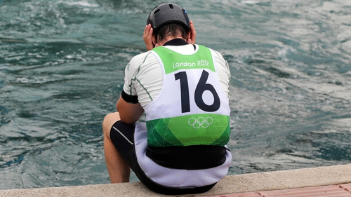 Eoin Rheinisch of Ireland is inconsolable following his Canoe Slalom run this afternoon
