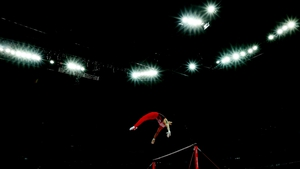 A shot from the Artistic Gymnastics Men's Individual All-Around final - Kazuhito Tanaka of Japan on the horizontal bar