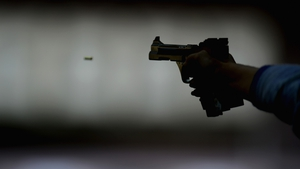 A high-speed camera captured this shot in the Women's 25m Pistol Shooting qualifications