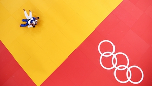 Roberto Meloni of Italy and Parviz Sobirov of Tajikistan seen from above during the Men's -90 kg Judo