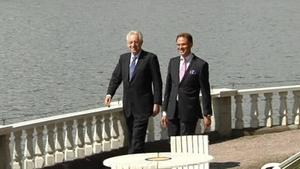 Italian Prime Minister Mario Monti (left) pictured with Finnish PM Jyrki Katainen ahead of tomorrow's key talks