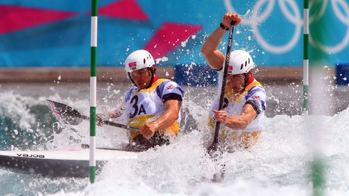 Tim Baillie and Etienne Stott on their way to gold this afternoon
