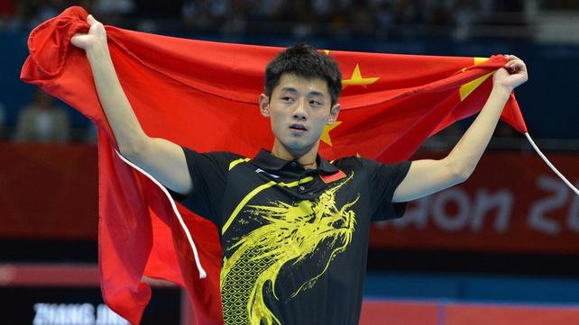 Zhang Jike has taken gold in men's singles table tennis