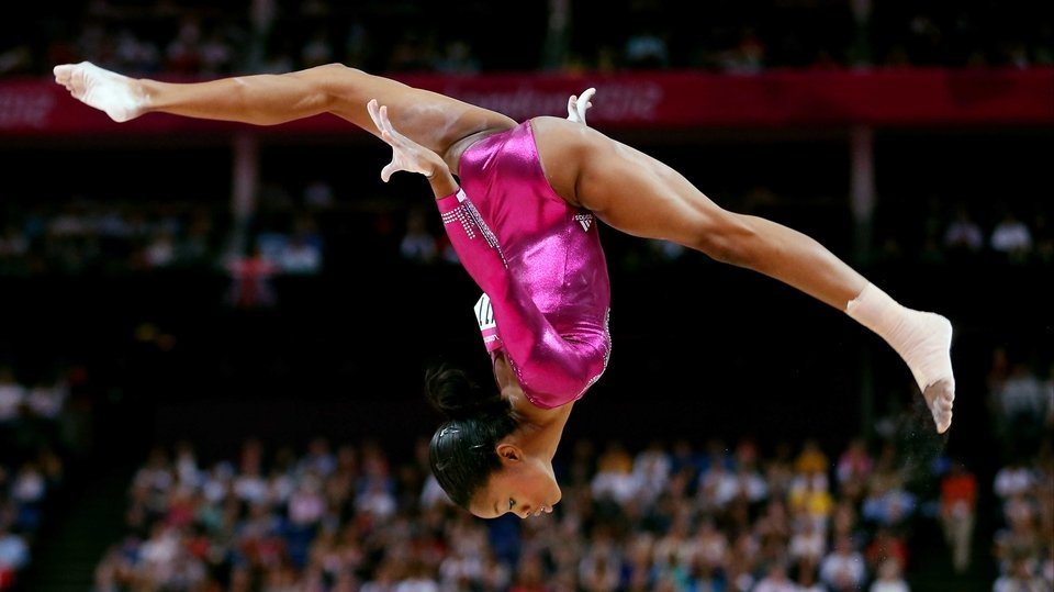 American Gabrielle Douglas on her way to winning gold in gymnastics