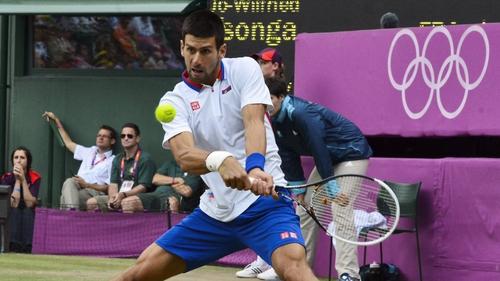 Novak Djokovic in action today