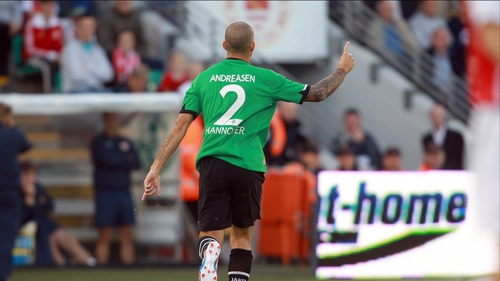 Leon Andreasen celebrates his goal in Tallaght