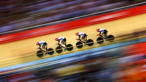 Great Britain in the process of setting a new world record during Men's Team Pursuit Track Cycling