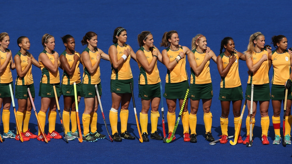 Here's the South African Women's Hockey players lining up for the national anthem