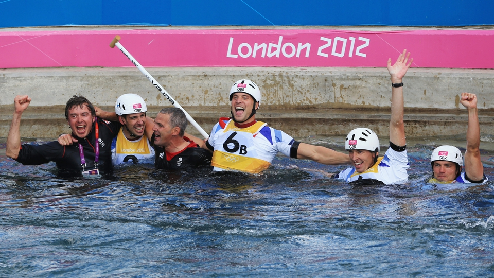 Celebrations after the Men's Canoe Double (C2) Slalom final