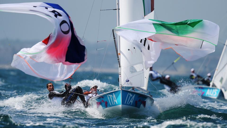 Gabrio Zandona and Pietro Zucchetti hang on in the 470 Class race