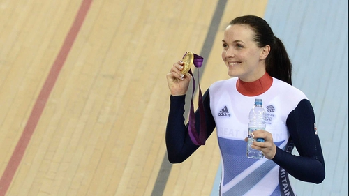 Victoria Pendleton celebrates with her gold medal