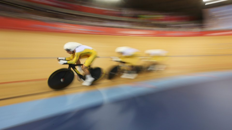 Annette Edmondson, Melissa Hoskins and Josephine Tomic of Australia compete in the Women's Team Pursuit Track Cycling
