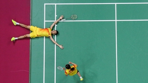 Nan Zhang and Yunlei Zhao are delighted after winning gold in the Doubles Badminton