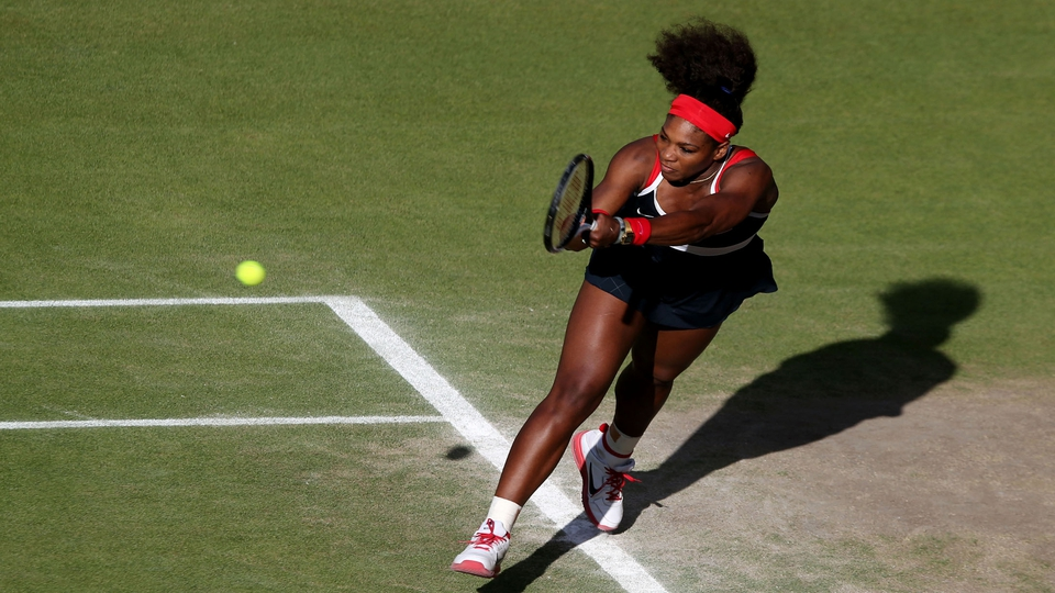 Serena Williams returning a serve at Wimbledon this afternoon