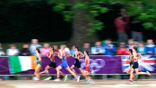 The triathletes during the running phase of the event