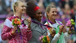 Serena Williams was joined on the Olympic podium by Maria Sharapova and Victoria Azarenka