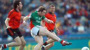 Michael Conroy scores Mayo's second goal against Down