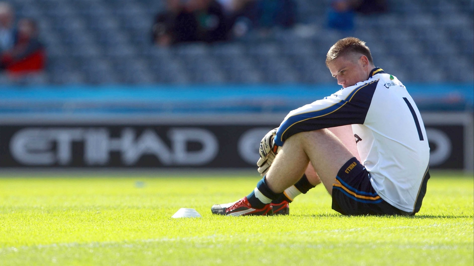 Tipperary goalkeeper Evan Comerford cuts a dejected figure after Mayo's 0-19 to 1-08 win