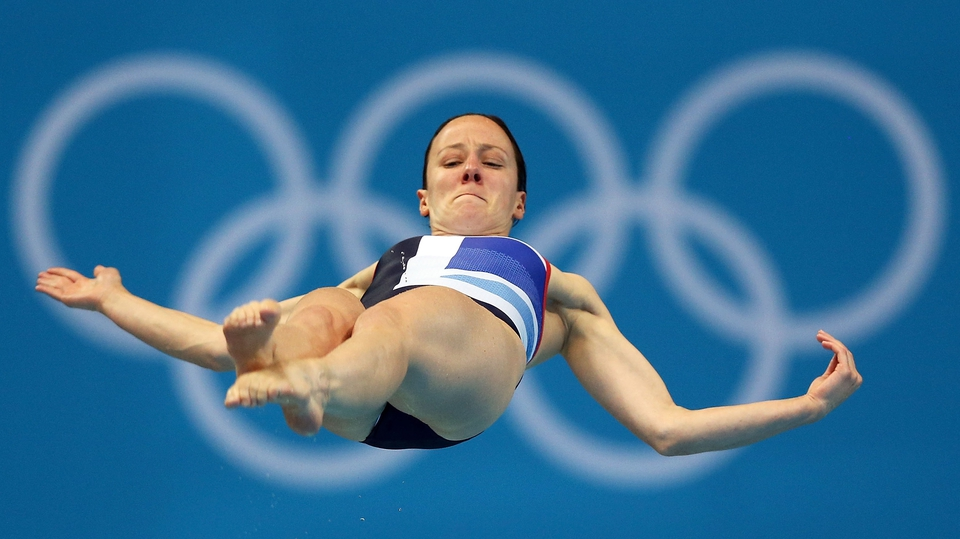 Rebecca Gallantree of Britain mid-way through her springboard dive