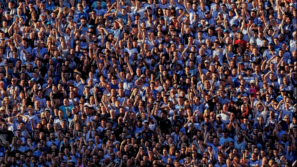 Dublin fans in residence on Hill 16