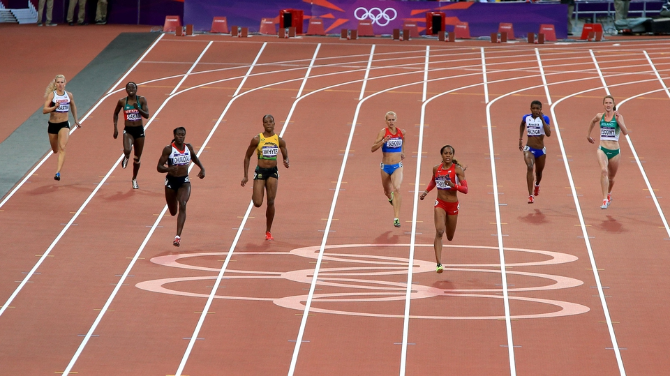 Joanne Cuddihy (far right) finishing fifth in the semi-finals of the women's 400m