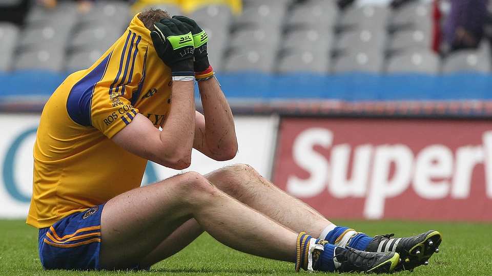 Roscommon's Thomas Corcoran is inconsolable after the game, as Kerry's minors progressed to the Minor Football Championship semi-finals on a scoreline of 1-09 to 0-11