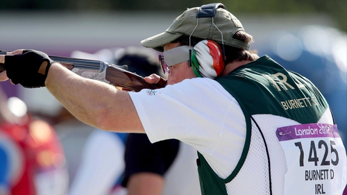 Derek Burnett finished in 24th place in the trap shooting qualifying