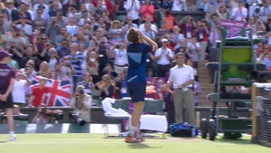 Andy Murray looks to the heavens after his resounding win against Roger Federer