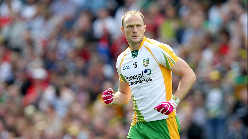 Donegal's Colm McFadden celebrates scoring an early point in the All-Ireland quarter-final against Kerry at Croke Park