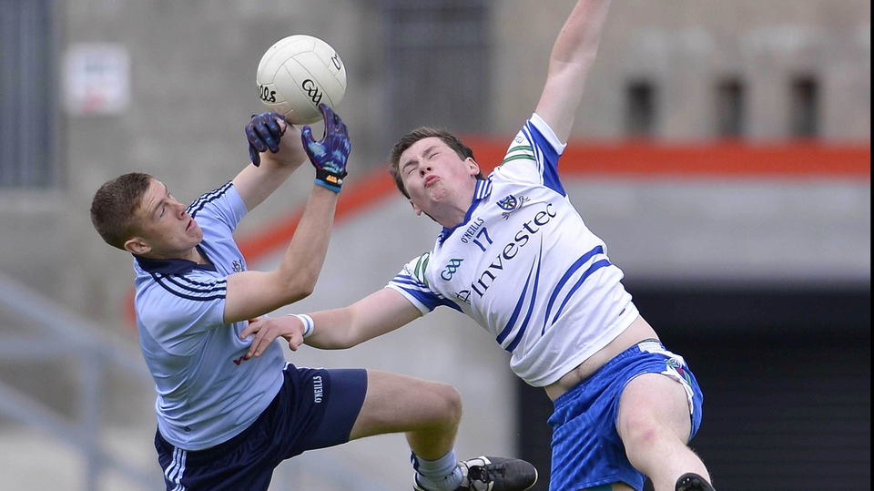 Dublin's Shane Carthy (r) and Monaghan's James McElroy in their All-Ireland MFC clash in Newry. The Dubs won 1-16 to 0-07