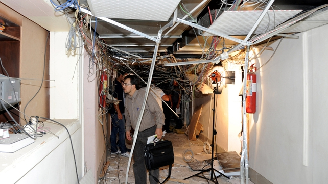 A bomb exploded in Syrian state television and radio building in Damascus