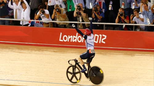 Jason Kenny celebrates after taking gold for Great Britain