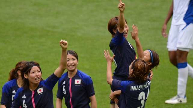 Saki Kumagai of Japan celebrates her goal