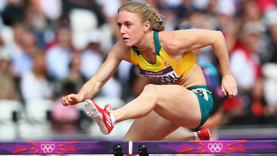 Sally Pearson of Australia taking on the 100m hurdles