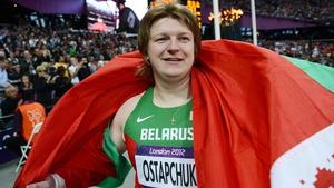 Former Ireland international Shane Byrne's long lost relative? Belarusian Nadzeya Ostapchuk won shot put gold