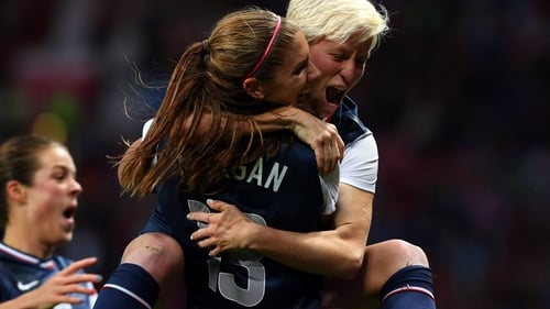 Megan Rapinoe and Alex Morgan celebrate the USA's extra-time winner at Old Trafford