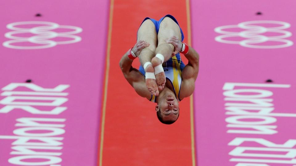 Igor Radivilov of Ukraine impresses in the vault competition