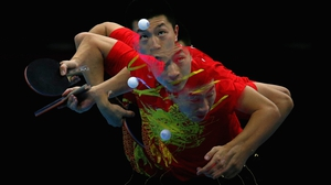 Do not adjust your set... A bit of camera trickery for Ma Long of China serving in the table tennis competition