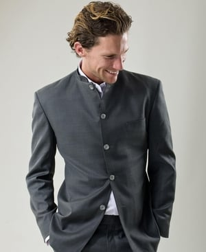 Hector Grey Nehru-style cashmere blend men's made-to-measure suit €490 Sutopia