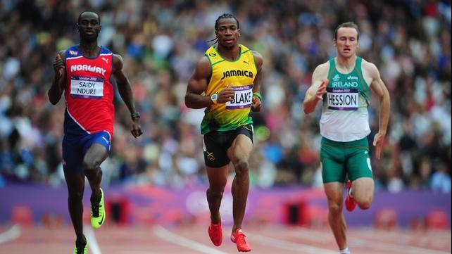 Paul Hession (r) chases Yohan Blake of Jamaica and Jaysuma Saidy Ndure (l) of Norway