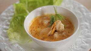 Surf 'N' Turf: Chicken, chorizo and prawns in a prawn cream from Paul Flynn