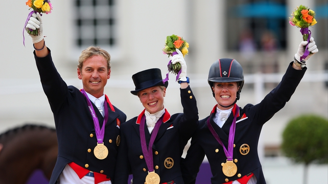 The Great Britain dressage team celebrate