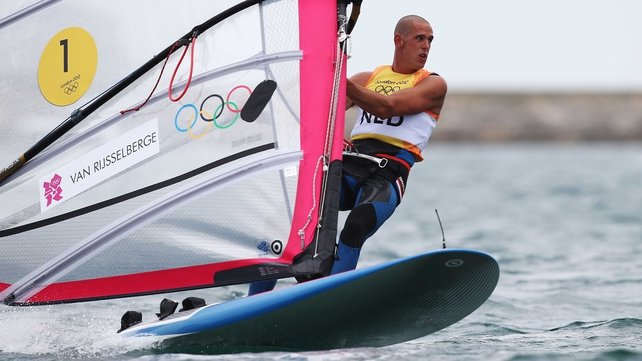 Dorian Van Rijsselberge of the Netherlands competes on his way to winning gold in the men's RS:X sailing
